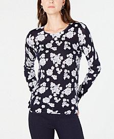 MICHAEL Michael Kors Floral-Print Sweater, In Regular & Petite Sizes