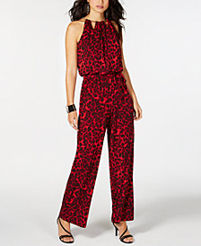 Thalia Sodi Cheetah-Print Chain-Neck Jumpsuit, Created for Macy's