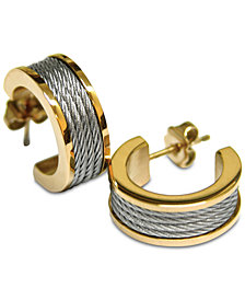 Two-Tone Cable Hoop Earrings in Stainless Steel & Gold-Tone PVD Stainless Steel