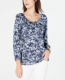 MICHAEL Michael Kors Printed Pleat-Neck Top, In Regular & Petite Sizes