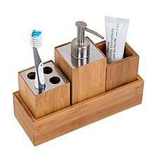 Bamboo 4-Piece Dispenser Set