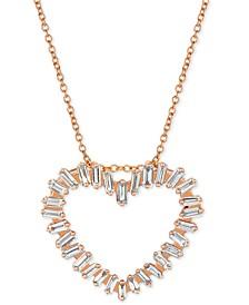 "Vanilla™ Diamond Baguette Heart 20"" Pendant Necklace (5/8 ct. t.w.) in 14k Rose Gold"