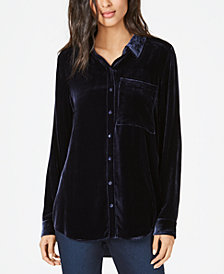 Eileen Fisher Velvet Button-Up Shirt, Regular & Petite