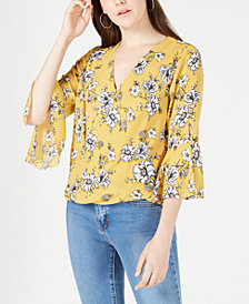 BCX Juniors' Printed Bell-Sleeved Surplice Top