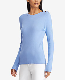 Lauren Ralph Lauren Button-Shoulder Sweater