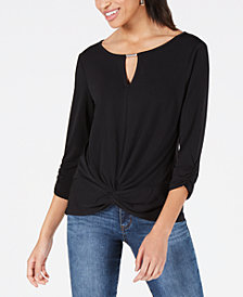 BCX Juniors' Embellished Knot-Front Top