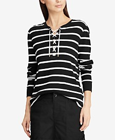 Lauren Ralph Lauren Lace-Up Striped Waffle-Knit Cotton Top