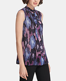 DKNY Printed Pleated Tie-Neck Blouse, Created for Macy's