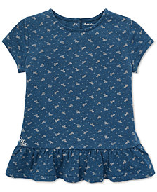 Polo Ralph Lauren Baby Girls Floral-Print Cotton Peplum T-Shirt