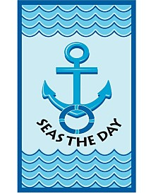 High Performance Beach Towel - Navy Seas the day