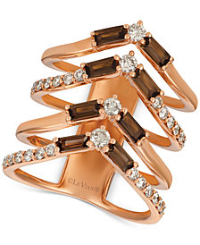 Le Vian Baguette Frenzy™ Smoky Quartz (9/10 ct. t.w.) & Nude™ Diamond (5/8 ct. t.w.) Chevron Statement Ring in 14k Rose Gold