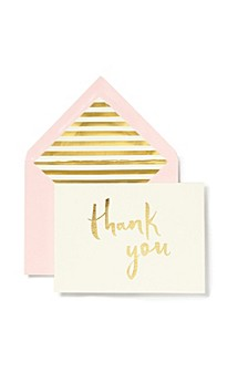 New York Note Card Set, Thank You Blush With Gold