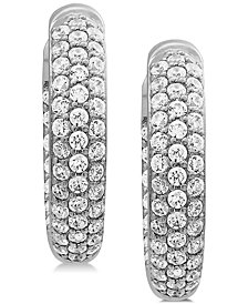 Cubic Zirconia Pavé Hoop Earrings in Sterling Silver