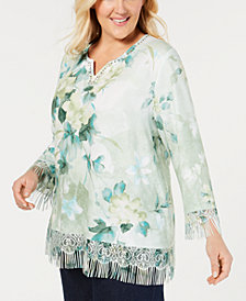 Alfred Dunner Plus Size Greenwich Hills Printed Fringe Sweater