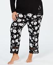 75c41b36d4 I.N.C. Plus Size Lace-Trimmed Knit Pajama Pants
