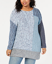 Style & Co Plus Size Colorblock Tunic Sweater, Created for Macy's