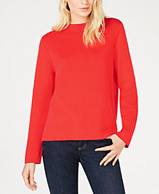 Eileen Fisher Organic Cotton Funnel-Neck Boxy Sweater, Regular & Petite