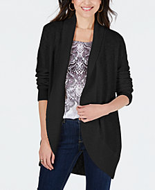 Style & Co Shawl-Lapel Open-Front Cardigan, Created for Macy's