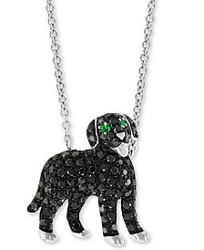 "EFFY® Diamond (3/4 ct. t.w.) & Emerald Accent Dog 18"" Pendant Necklace in 14k White Gold"