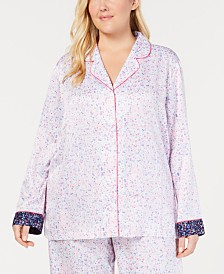 Charter Club Plus Size Notch-Collar Pajama Top, Created for Macy's