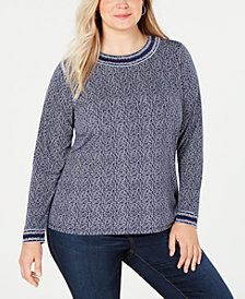 MICHAEL Michael Kors Plus Size Printed Long-Sleeve T-Shirt