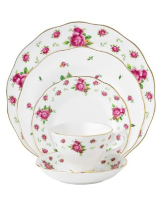 main image  sc 1 st  Macy\u0027s & Royal Albert Dinnerware Old Country Roses White Vintage 5 Piece ...