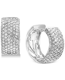 EFFY® Diamond Pavé Huggie Hoop Earrings (1-1/2 ct. t.w.) in 14k White Gold