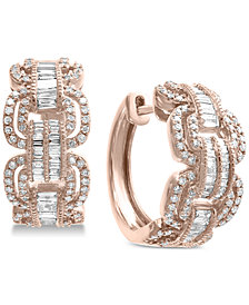 EFFY® Diamond Hoop Earrings (1-1/10 ct. t.w.) in 14k Rose Gold