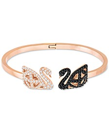 Gold-Tone Pavé Swan Hinged Cuff Bracelet