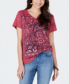 Style & Co Petite Graphic V-Neck Top, Created for Macy's