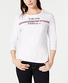 Tommy Hilfiger Logo 3/4-Sleeve T-Shirt, Created for Macy's