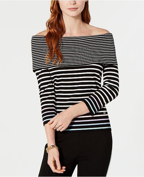 ed747da478a ... Tommy Hilfiger Contrast-Stripe Off-The-Shoulder Sweater