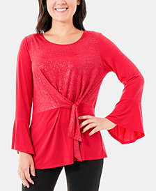 NY Collection Glitter Tie-Front Bell Sleeve Top