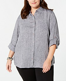 Plus Size Linen Utility Shirt, Created for Macy's