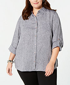 Charter Club Plus Size Linen Utility Shirt, Created for Macy's