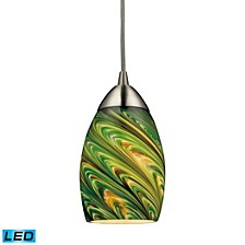 Mini Vortex 1 Light Pendant in Satin Nickel - LED Offering Up To 800 Lumens (60 Watt Equivalent)