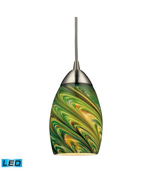 ELK Lighting Mini Vortex 1 Light Pendant in Satin Nickel - LED Offering Up To 800 Lumens (60 Watt Equivalent)