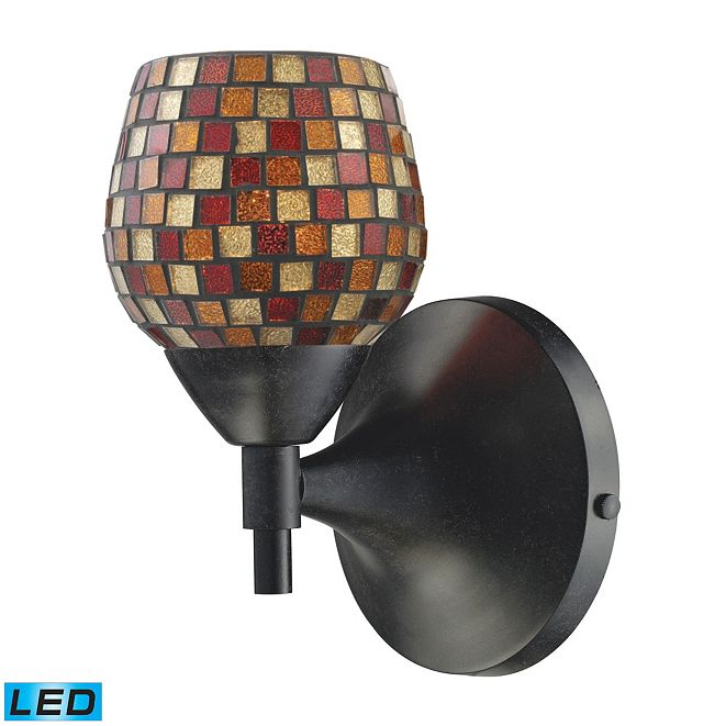 ELK Lighting Celina 1-Light Sconce in Dark Rust with Multi Fusion Glass - LED Offering Up To 800 Lumens (60 Watt Equivalent)
