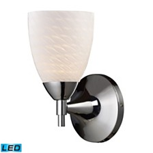 Celina 1-Light Sconce in Polished Chrome with White Swirl Glass - LED Offering Up To 800 Lumens (60