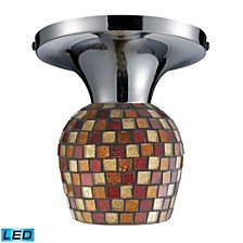 Celina 1-Light Semi-Flush in Polished Chrome and Multi Fusion Glass - LED Offering Up To 800 Lumens
