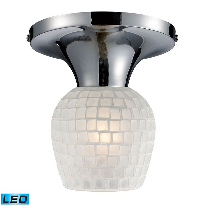 ELK Lighting Celina 1-Light Semi-Flush in Polished Chrome and White Glass - LED Offering Up To 800 Lumens (60 Watt Equivalent)