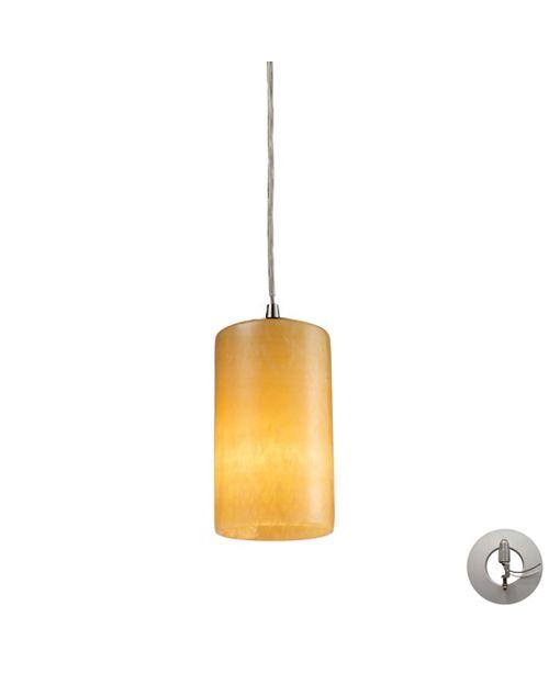 ELK Lighting Piedra 1 Light Pendant in Satin Nickel and Genuine Stone - Includes Adapter Kit