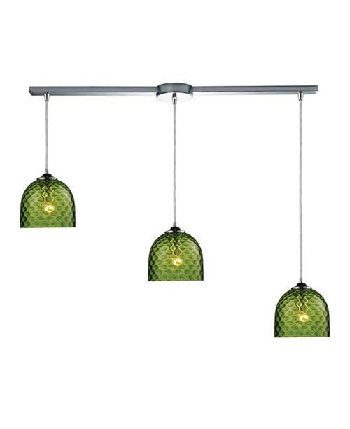 ELK Lighting Viva 3-Light lLinear Pendant Green in Polished Chrome