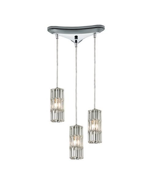 ELK Lighting Cynthia Collection 3 light pendant in Polished Chrome