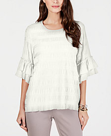 Alfani Textured Ruffle-Sleeve Top, Created for Macy's