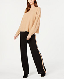 Eileen Fisher Cashmere Sweater & Striped Wide-Leg Pants