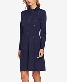 CeCe Cotton Mock-Neck Embellished Dress