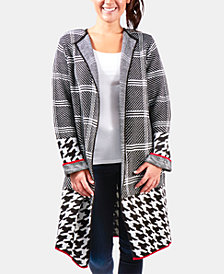 NY Collection Mixed-Pattern Duster Cardigan