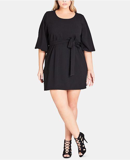 City Chic Trendy Plus Size Bubble-Sleeve Dress & Reviews - Women ...