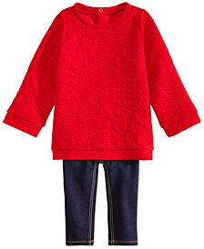 First Impressions Baby Girls Quilted Sweater & Denim Leggings Separates, Created for Macy's